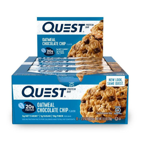 QUEST NUTRITION Oatmeal Chocolate Chip Protein Bars - 12 Count