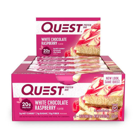 QUEST NUTRITION White Chocolate Raspberry Protein Bars - 12 Count