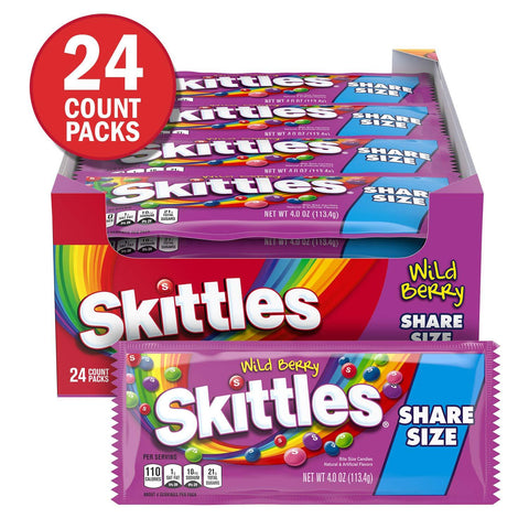 Skittles Wild Berry, Share Size  Packs (4 oz.) - 24 Count Box