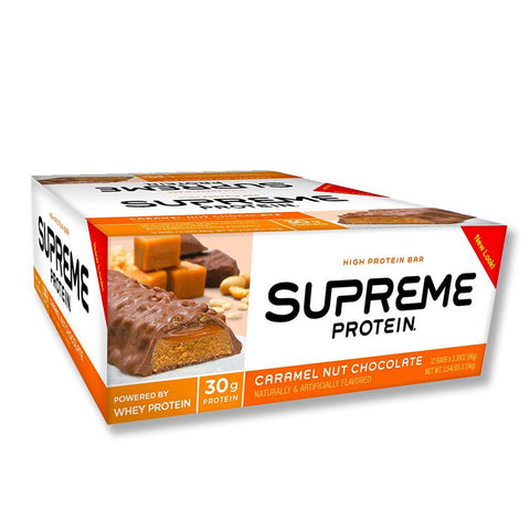 SUPREME PROTEIN Caramel Nut Chocolate 3.38 oz. Protein Bars - 12 Count