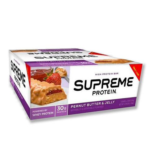 SUPREME PROTEIN Peanut Butter & Jelly 3.38 oz. Protein Bars - 12 Count