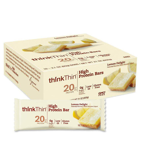 THINK THIN Lemon Delight 2.1 oz. High Protein Bars - 10 Count