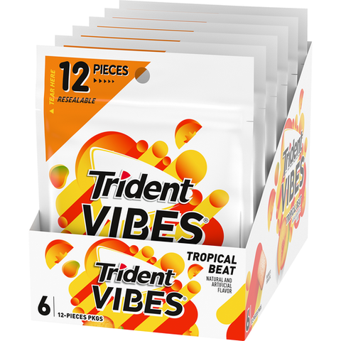 Trident Vibes,  Tropical Beat 12 Piece Bag - 6 Count