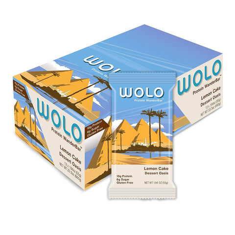 WOLO WANDERBAR Lemon Cake 1.94 oz. Protein Bars - 12 Count
