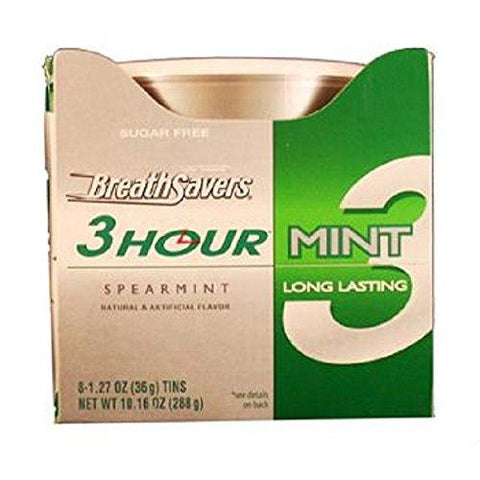 Breath Savers 3HR Spearmint Breath Mints (1.27 oz.) Tin - 8 Count