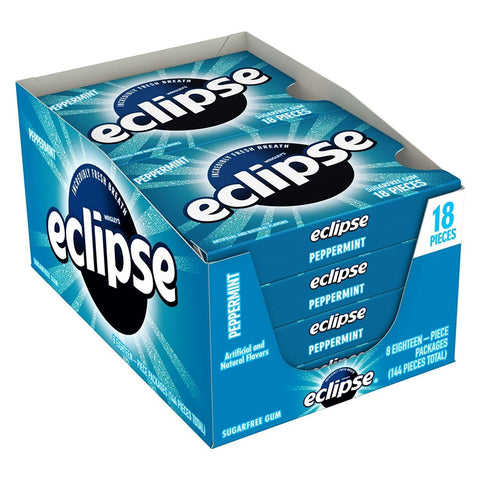 Eclipse Peppermint Chewing Gum, (18 pieces) - 8 Count