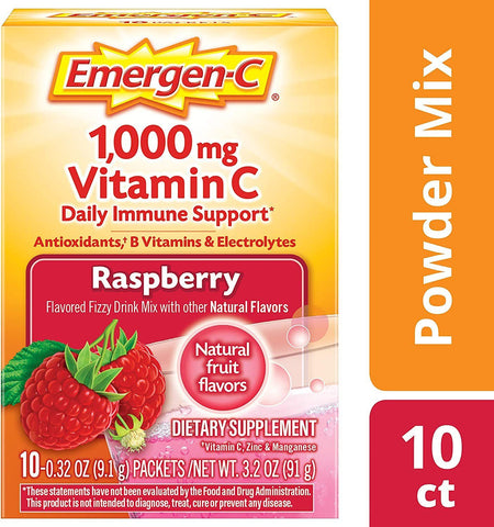 Emergen-C Vitamin C Powder Packets Raspberry Flavor - 10 Count