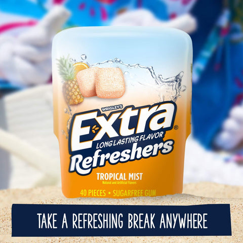 Extra Refreshers, Tropical Mist Chewing Gum, (40pieces) - 6 Count