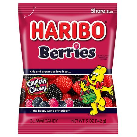 Haribo Gummi Candy, Rasberries / Berries (5 oz Bag)  - 12 Count