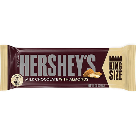 HERSHEY'S Chocolate Candy Bars with Almonds, King Size (2.6oz) - 18 Count