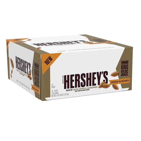 HERSHEY'S White Creme Bars with Almonds, King Size (2.6oz) - 18 Count