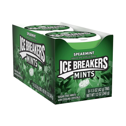 ICE BREAKERS Sugar Free Mints, Spearmint, (1.5 Ounce Tin) - 8 Count