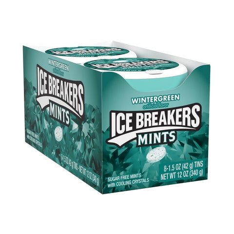 ICE BREAKERS Sugar Free Mints, Wintergreen, (1.5 Ounce Tin) - 8 Count