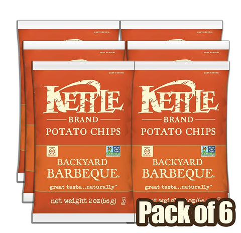 Kettle Brand Potato Chips, Backyard Barbeque (2 oz Bag) - Pack of 6