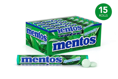 Mentos Chewy Spearmint Candy Roll (1.32 oz.) - 15 Count Box