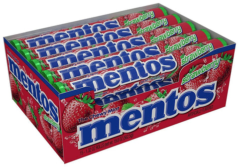 Mentos Chewy Strawberry Candy Roll (1.32 oz.) - 15 Count Box