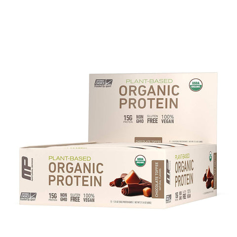MUSCLEPHARM Chocolate Toffee Organic Protein Bars - 12 Count