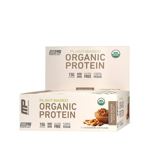 MUSCLEPHARM Peanut Butter Organic Protein Bars - 12 Count