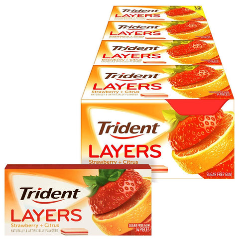 Trident Layers Strawberry + Citrus Sugar Free Gum (14 Piece Packs)- 12 Count