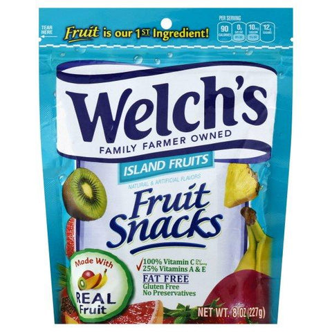 WELCH'S Fruit Snacks Island Fruits Resealable Standup Bag  (8 oz.) - 9 Units Per Case
