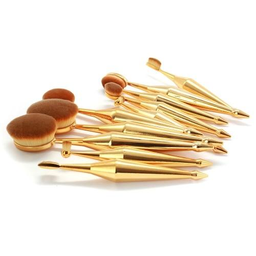 Metallic Oval Makeup Brush Set 10-Piece - TrendiaStore