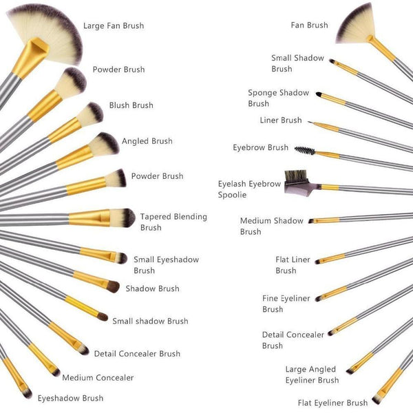 Luxury Champagne Gold Makeup Brushes Set - 24 pcs - TrendiaStore