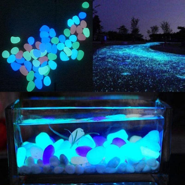 100Pcs Glow-In-The-Dark Pebbles / Gardening Pebbles / Aquarium Decorative Stones - TrendiaStore