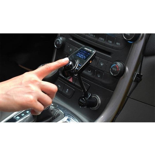Bluetooth Car Kit: Handsfree Calls, MP3 Player, FM Transmitter, 2.1A USB Charger - TrendiaStore