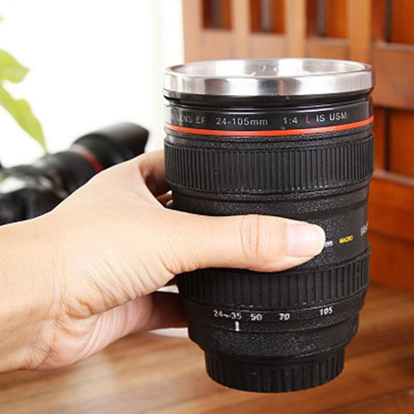 SLR Camera Lens Stainless Steel Travel Coffee Mug with Leak-Proof Lid - TrendiaStore