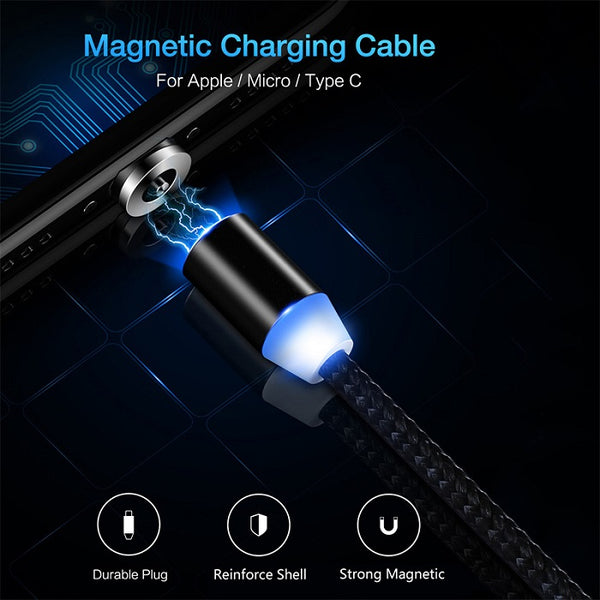 Nylon Braided Round Head Magnetic Charging Cable