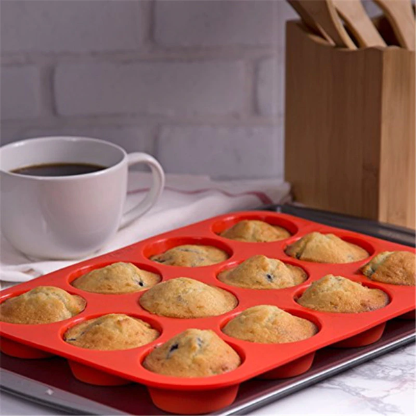Super Easy To Use Silicone Muffin Cupcake Baking Tray (12 molds)