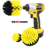 3 DRILL BRUSHES- 3 BRUSHES FOR POWER SCRUBBING- BRUSH CLEANING KIT - SUITABLE FOR PROFESSIONAL CLEANING - DRILL NOT INCLUDED
