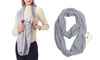 Infinity Travel Scarf With Hidden Pocket For Passport, Cash or Mobile Phone