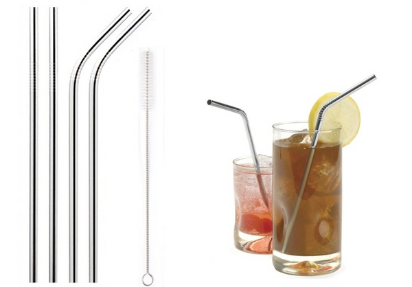 Pack of 4 Eco-friendly Reusable Stainless Steel Drinking Straws
