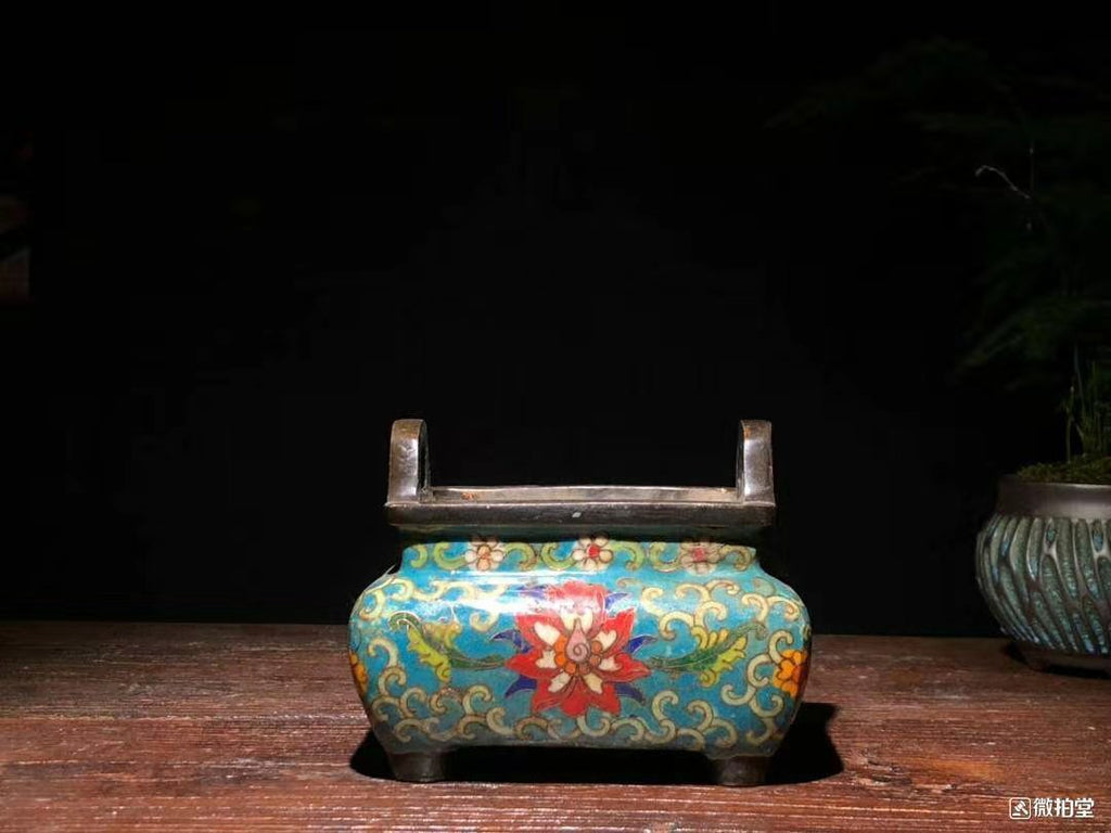 old chinese cloisonne incense buner 景泰蓝四足冲耳炉