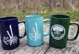 Splatter ware 18 oz coffee mugs with Keuka Lake Image and Curtiss Logo or Know your Roots design