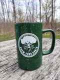 18 OZ Know your roots coffee cup in Forest Green splatter ware.