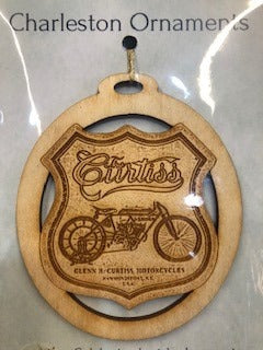 Curtiss Motorcycles Wood Charleston Ornament