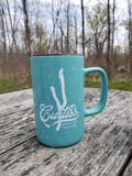 Aqua 18 oz tall coffee mug with Curtiss script overlaid on Keuka Lake