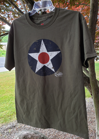 Heavy weight olive colored T-shirt with  a distressed 1940s US Army Air corp Insignia
