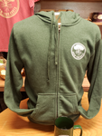 Zip up green hoodie with the Know your Roots  logo on left chest.