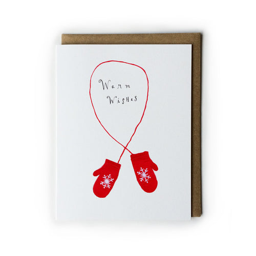 Warm Wishes Red Gloves Holiday Greeting Card