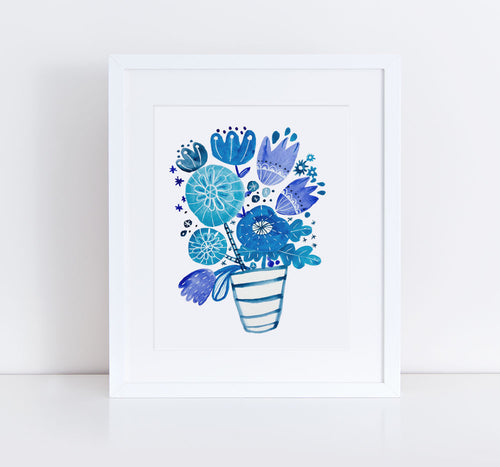 Blue Bouquet, Giclee Art Print