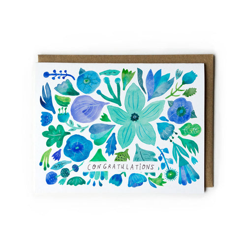 Blue Flower Congratulations Card
