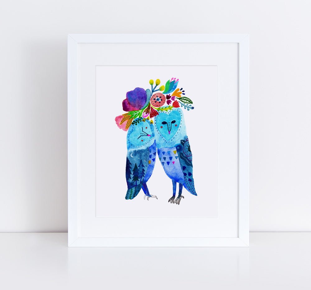 Barn Owl Love, Giclee Art Print
