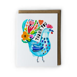 Blue Rooster Thank You Card