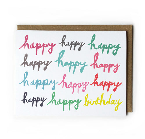 Happy Happy Birthday Brush Lettering Card (Red, Green, Yellow, & Grey)