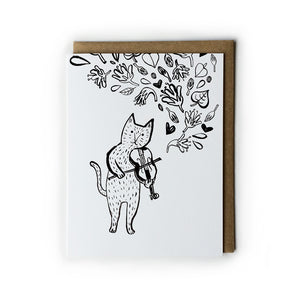 Cat Violin Greeting Card