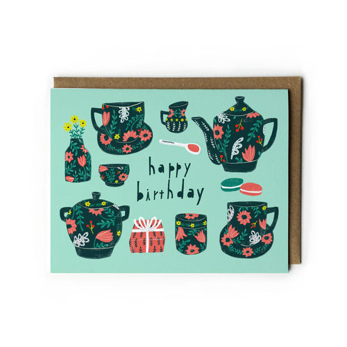 Floral Tea Set Birthday Card