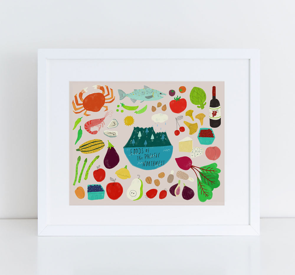 Foods of the Pacific Northwest, Giclee Art Print